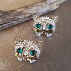 NWT Betsey Johnson Jeweled Cat Kitty Earrings